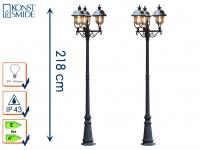 2er-Set Außenstandleuchten PARMA Edelstahl Lampendach, 3 x E27, IP43