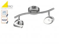 2 flammiger TRIO LED Deckenstrahler SHARK, Spots schwenkbar, Retro Deckenlampe