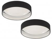 Dimmbares LED Sternenhimmel Deckenlampenset 2x Ø60cm, Stoffschirm schwarz silber