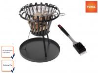 Feuerkorb mit Grillrost, Bodenplatte & Grillbürste schwarz Ø 50cm Feuerstelle