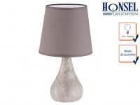 LED Tischleuchte Nachttischlampe Keramik braun/grau marmoriert & Schirm H. 28 cm
