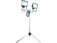 Doppel-Halogenscheinwerfer 400W aus Alu mit Stativ, IP54, alugrau