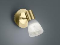 LED Decken-/ Wandstrahler Spot LEVISTO Messing matt Glas Alabaster
