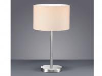 Tischleuchte, E27, Höhe 55cm, Ø 30 cm, Nickel matt, Stoff cremeweiß