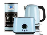 Frühstücksset im Retro Design pastell blau Kaffeemaschine, Wasserkocher, Toaster