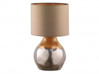 Dekorative Keramik Tischleuchte braun 46cm mit LED, Design Lampenschirm Textil