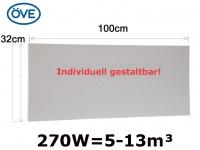 270W Infrarotheizung, 100x32cm, für Räume 5-32m³, bemalbar, IP44