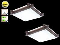 2x Globo Deckenleuchte EDISON Holz / Glas, Deckenlampe Wohnraum Wohnzimmer Lampe
