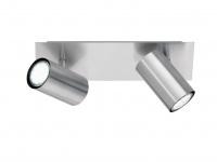 Schwenkbare Deckenspots, Metall 2 fl. Bürolampe, Wohnraumleuchte in Nickel matt