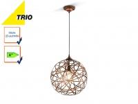 Trio Kugel Pendelleuchte JACOB 40cm mit E27 LED, Hängelampe Design Kupfer antik