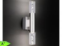 LED-Wandleuchte mit Schalter, Nickel / Acryl mit Blasen, Honsel-Leuchten
