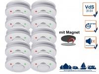 10er Set ELRO Rauchmelder 10 Jahre Batterie VdS Zertifiziert mit Magnethalterung