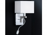 Wandleuchte mit LED Leseleuchte Leselampe flexibel, Stoffschirm, Honsel-Leuchten