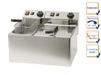 Profi Doppel Fritteuse 5 + 8 L, Edelstahl Gastro Industrie Fritteuse Friteuse