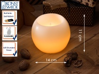 LED Echtwachskugelkerze weiß 4/8h Timer Ø 14cm flackernde Diode Dekoration