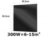 300W Glasheizpaneel Infrarotheizung schwarz, Glaspaneel ohne Rahmen Vitalheizung