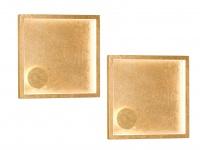 2 Quadratische LED Wandleuchten 20, 5 x 20, 5cm goldfarben 12W - Wohnraumleuchten