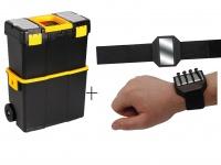 Werkzeugtrolley Kunststoff 2-Teilig + Magnet, Werkzeugkoffer mit Rollen Trolley
