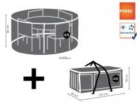 Schutzhüllen Set: Abdeckung rund für Gartenmöbel Ø 150 cm + Hülle für 4-6 Kissen