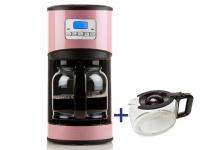 Kaffeemaschine in Rosa mit 24-Std. Timer, 2 x 1, 5 Liter Glaskanne, LCD-Anzeige