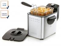 Edelstahl Fritteuse mit Kältezone Fassungsvermögen 4 l Deckel mit Filter Domo