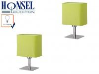2x Tischleuchte SAM Schirm grün eckig, Wohnraumlampe Nachttischleuchte Honsel