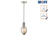 Vintage Schnurpendel Nickel matt mit E27 Filament LED, Hängelampe Retro Design