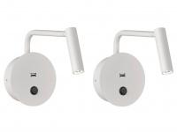 2er Set flexible LED Wandleuchten Leselampen weiß mit USB Anschluss & Schalter