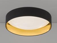 Dimmbare LED Sternenhimmel Deckenleuchte Ø80cm, Stofflampenschirm schwarz gold
