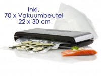Vakuumierer, Folienschweissgerät, Luftdicht, inkl. 70 Vakuumbeutel 22 x 30 cm