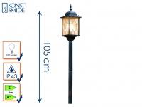 Wegeleuchte Standleuchte MILANO E27 Bleikristalloptik IP43 Höhe 105 cm