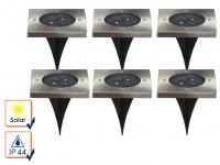 6er-Set Solar Bodeneinbaustrahler Bodenleuchten Bodenstrahler Einbaustrahler