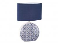 LED Tischleuchte mit blauem Stoffschirm oval, Keramik weiß blau, Flurlampe 44cm