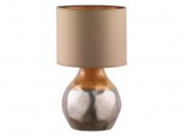 Dekorative Honsel Keramik Tischleuchte 46cm Braun mit Design Lampenschirm Textil