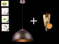 Pendelleuchte TAMOR mit LED dimmbar, Bronze, Hängelampe Esstisch Küchenlampe