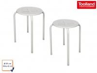 2er Set Hocker aus pulverbeschichtetem Stahl in weiß, Sitzhocker Gartenhocker