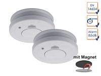 2er-Set Rauchmelder mit Magnethalter, Batteriewarnung & Testtaste, EN14604
