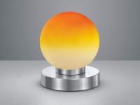 Tischlampe Kugelform mit orangem GLAS Lampenschirm Touch Dimmer Wohnraumleuchten