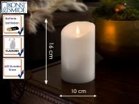 LED Echtwachskerze 3D Flamme & Timer Batteriebetrieb H. 16 cm Stimmungslicht