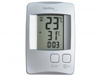 Temperaturstation mit Quarzuhr, silber, inkl. Funksender TX 9116