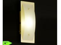 LED-Wandleuchte, Messing matt, Glas in matt weiß, Honsel-Leuchten, LIANA