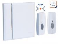 Design Funktürklingel Set + Zusatz Klingelknopf weiß, 4 Melodien selbstlernend