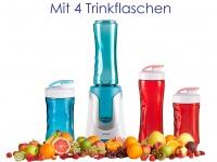 Family Smoothie-Maker 300W Blau, 4 Flaschen (300ml & 600ml je 2 in Rot & Blau)