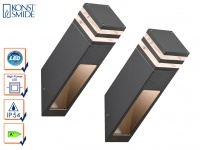 2er-Set Wandleuchten MASSA anthrazit, 8 Watt HP-LED, 800 Lumen, IP54