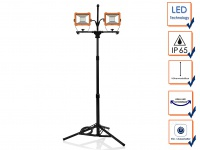 2in1 LED Doppelbaustrahler mit Stativ, Arbeitsscheinwerfer 2x30W, Bodenstrahler
