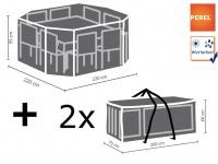 Schutzhüllen Set: Abdeckung für achteckige Sitzgruppe + Hüllen für 8-12 Polster
