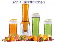 Family Smoothie Maker 300W Orange, 4 Flaschen - 300 & 600ml je 2 in Orange&Grün