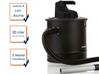 Aschesauger Kaminsauger Staubsauger Industriesauger 20 Liter 1200 Watt
