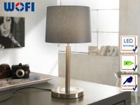 LED Tischleuchte Nachttischlampe Touchdimmer Nickel matt Stoff grau H. 49cm