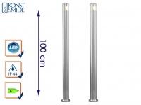 2er-Set massive Aluminium Sockelleuchten MONZA 6W HP-LED IP44